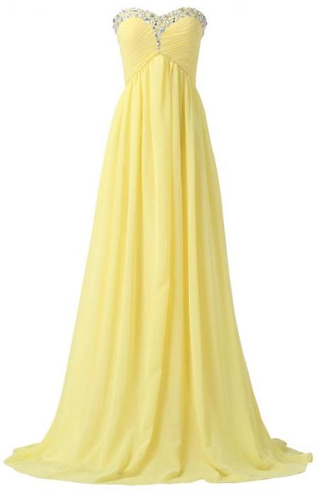 Beaded Trimmed Yellow Ruched Chiffon Sweetheart Floor Length A-Line Formal Dress Featuring Lace-Up Back, Prom Dress