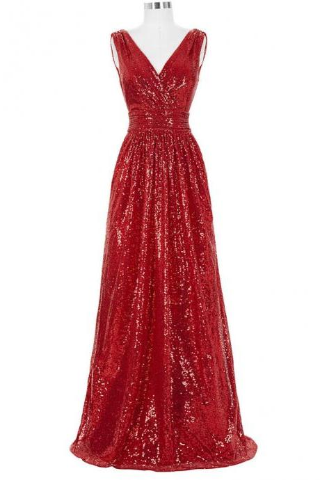 Prom Dresses,Evening Dress,Party Dresses,Long Bridesmaid Dresses Red Silver Pink Black Gold Sequins Wedding Party Dresses for Bridesmaids 2017 Prom Gown