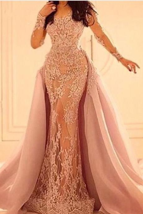 Prom Dresses,Evening Dress,Party Dresses,Detachable Skirt Pink Lace Prom Dresses 2017, Sexy Sheer Long Party Dress, Illusion Back Pageant Gala Dresses, Arabic Dubai Designer Prom Party Dresses, Vintage Pink Lace Long Sleeve Party Dresses,Cheap China Lace Runway Dresses,Formal Evening Dresses With Long Sleeve, 2017 Prom Dresses Customize
