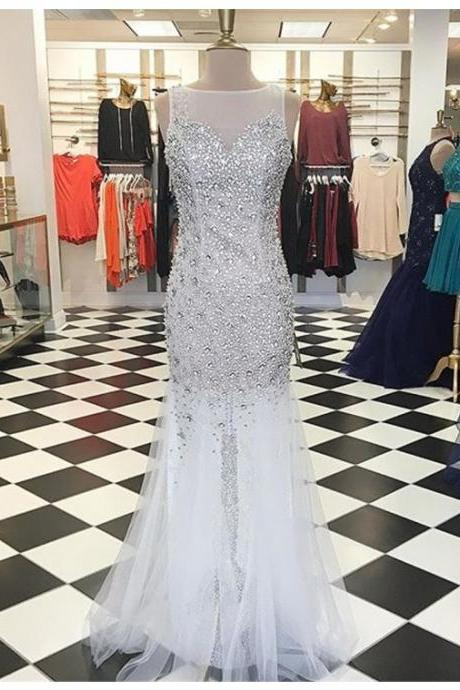 Prom Dresses,Evening Dress,Party Dresses,Glamorous Bateau Floor-Length White Mermaid Prom Dress with Beading Crystal