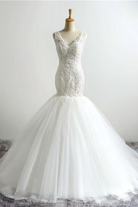 White Floor Length Tulle Mermaid Wedding Gown Featuring Lace Plunge V Bodice, Open Back and Lace-Up Detailing