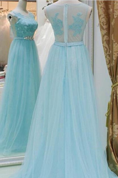 Prom Dress, New Arrival Baby Blue A Line Evening Dresses, Lace Top See Though Prom Dress,High Quality Graduation Dresses,Wedding Guest Prom Gowns, Formal Occasion Dresses,Formal Dress