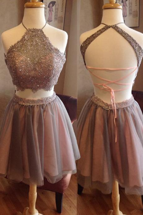 TShort Homecoming Dress,Two Pieces Homecoming Dress,Open Back Homecoming Dress, High Neck Homecoming Dress,Graduation Dress , Homecoming Dresses ,Prom Dress for Teens