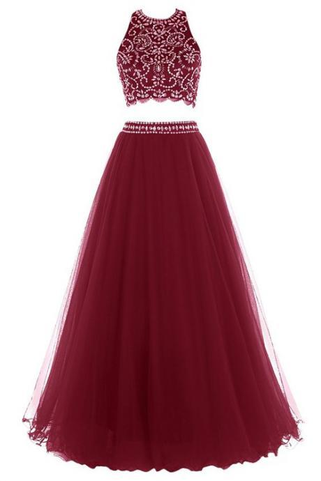 Red Floor Length Two Piece Prom Dress Featuring Beaded Embellished Halter Cropped Bodice, Open Back and Tulle A-Line Skirt