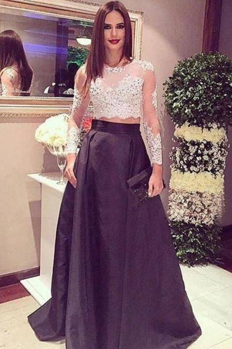Stunning Two Piece Long Sleeves Black Prom Dress with Lace Beading