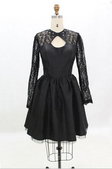 Handmade Black Homecoming Dress,Taffeta Long-sleeve Dresses,Homecoming Dresses
