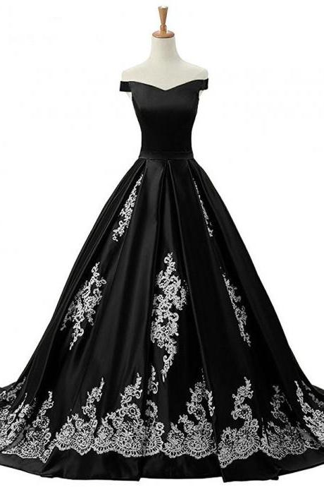 V Neck Off the Shoulder Ruched Satin Appliques Prom Gowns ,Formal Dresses Real Image