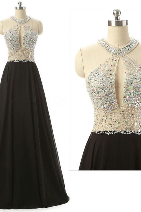 Black A-line Floor-length Chiffon Prom Dress with Sheer Beaded Halter Bodice