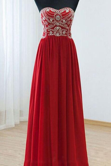 Strapless Floor-length Beaded Chiffon Prom Dress with Sweetheart Neckline