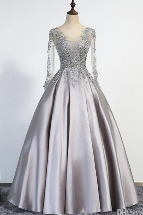 Sexy Long Prom Dress, A-Line Scoop Illusion Lace Up Long Sleeves Floor Length Appliques Beading Real Picture Prom Gowns