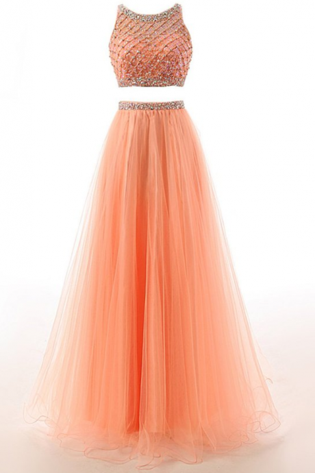 Sexy Long Prom Dress, Tulle Floor Length Prom Dress Featuring Beaded Embellished Cropped Halter Bodice