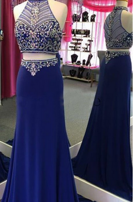 Two Pieces Royal Blue Prom Dress,Long Prom Dresses,Charming Prom Dresses,Evening Dress Prom Gowns
