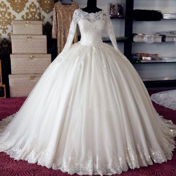Sheer Lace Appliqués Ball Gown Wedding Dress with Long Sleeves and Long Train