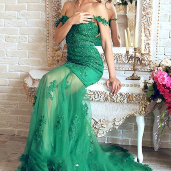 Mirusponsa Beautiful Emerald Green Lace Mermaid Evening Dresses Robe De Soiree Longue Appliques Transparent Sexy prom Dress
