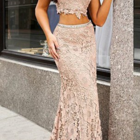 Two Pieces Lace Prom Dress
