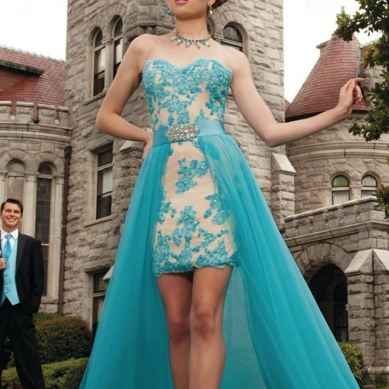 Turquoise Blue Prom Dress with Attachable Skirt