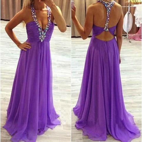 Charming Prom Dress Chiffon Prom Dress A-Line Prom Dress V-Neck evening dresses Beading Backless Prom Dress