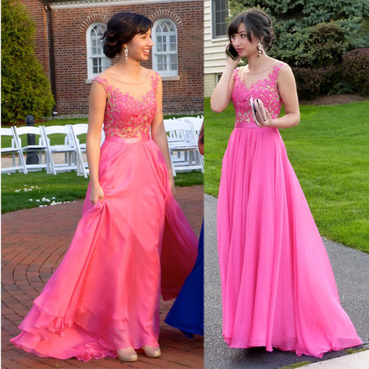 Charming Homecoming dresses Coral red prom Dress Chiffon A-Line PARTY Dress Appliques EVENING Dress O-Neck Prom Dress