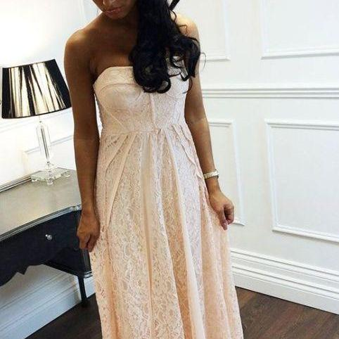 High Quality Prom Dress A-Line Prom Dress Strapless Prom Dress Lace Prom Dress Long EVENING Dress