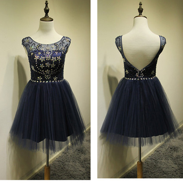 Short Prom Dress, Navy Prom Dress, Tulle Prom Dress, Cheap Prom Dress, Short Homecoming Dress, Party Dress For Girls
