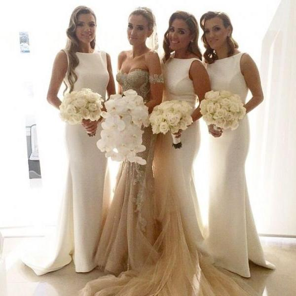 Long Bridesmaid Dress, White Bridesmaid Dress, Modest Bridesmaid Dresses, Cheap Bridesmaid Dress, Formal Bridesmaid Dress, Wedding Bridesmaid Dresses