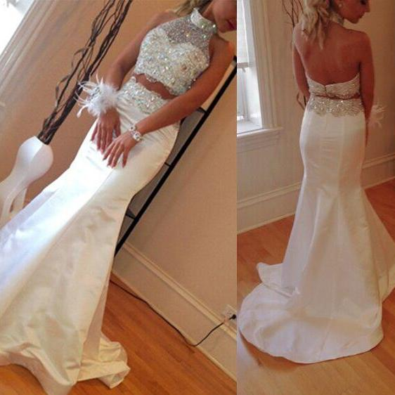 Newest Two Pieces White Long Satin Mermaid Prom Dresses,Sexy Sleeveless Beading Fishtail Prom Dress,Halter Wedding Dress,Custom Made Prom Gown