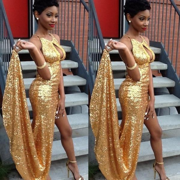 Prom Dresses,Gold Prom Dress,Modest Prom Gown,Sequins Prom Gowns,Sequined Evening Dress,Princess Evening Gowns,Sparkly Party Gowns,Long Prom Gowns,Slit Evening Dress,Slit Prom Dresses