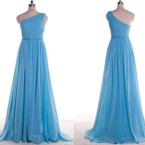 One Shoulder Bridesmaid Gown,Pretty Prom Dresses,Chiffon Prom Gown,Simple Bridesmaid Dress,Blue Bridesmaid Dress,Cheap Evening Dresses,Fall Wedding Gowns, Beautiful Bridesmaid Gowns