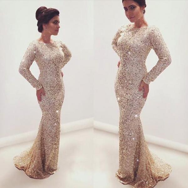Prom Dresses,Evening Dress,Charming Prom Dress,Long Sleeve Prom Dress,Mermaid Prom Dress,Long Prom Dress,Evening Dress
