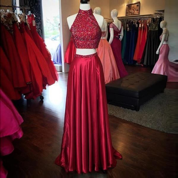 Prom Dresses,Evening Dress,Party Dresses,Prom Dresses,Long Prom Dresses,Red High Neck Two Piece Evening Dresses Online Sleeveless Split Prom Dress with Beads