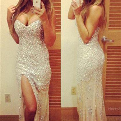 Prom Dresses,Evening Dress,Party Dresses,Prom Dresses,Long Prom Dresses,Sexy Sparkly Prom Dresses Sweetheart Sequined Side Slit Sweep Train Mermaid Evening Gowns