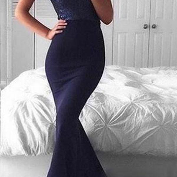 Prom Dresses,Evening Dress,Party Dresses,Elegant Sweetheart Sweep Train Navy Mermaid Prom Dress with Sequins Celebrity Dresses