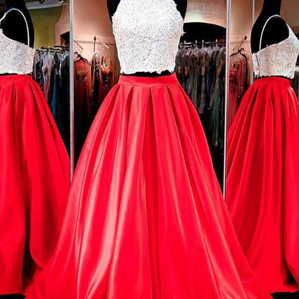 Prom Dresses,Evening Dress,Party Dresses,Gorgeous Two-piece Square Neck Red Floor-Length Prom Dress with Lace,Cheap Prom Dress,Evening Gowns for Teens