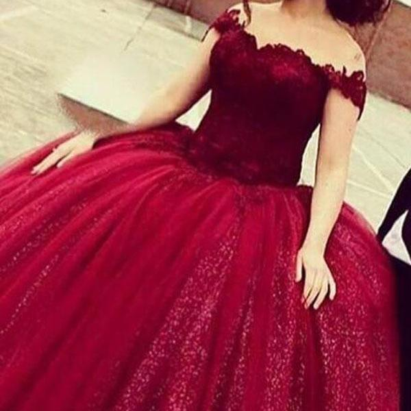 Prom Dresses,Evening Dress,Party Dresses,Glamorous Off Shoulder Floor-Length Sequins Wine Prom Dress with Lace Top,Lace Formal Gown For Teens