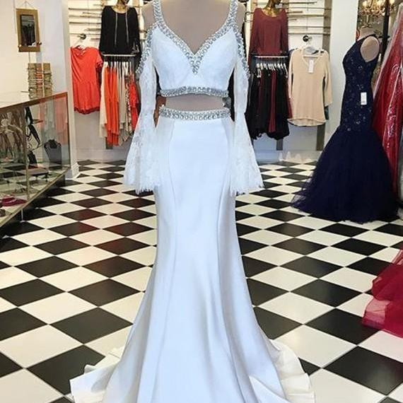 Prom Dresses,Evening Dress,Party Dresses,Elegant White V-Neck Long Sleeves Floor-Length Mermaid Prrom Dress with Beading Lace