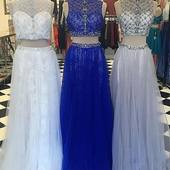 Prom Dresses,Evening Dress,Party Dresses,Modern High Neck Floor-Length Two Piece Prom Dress with Lace Beading