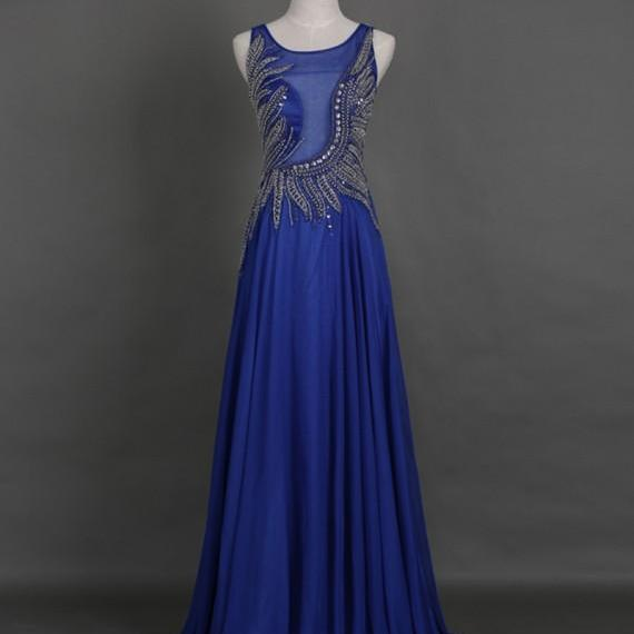 Prom Dresses,Evening Dress,Party Dresses, Elegant A-Line Crew Floor-Length Sequins Royal Blue Prom Dress with Beading