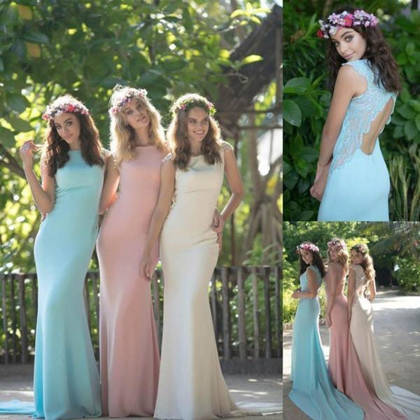 Bridesmaid Dresses,Colorful Bridesmaid Dresses ,Simple Bridesmaid Dresses ,Open Back with Small Train Bridesmaid Dresses,Modest Bridesmaid Dresses,Wedding Guest Dresses,Long Bridesmaid Dresses